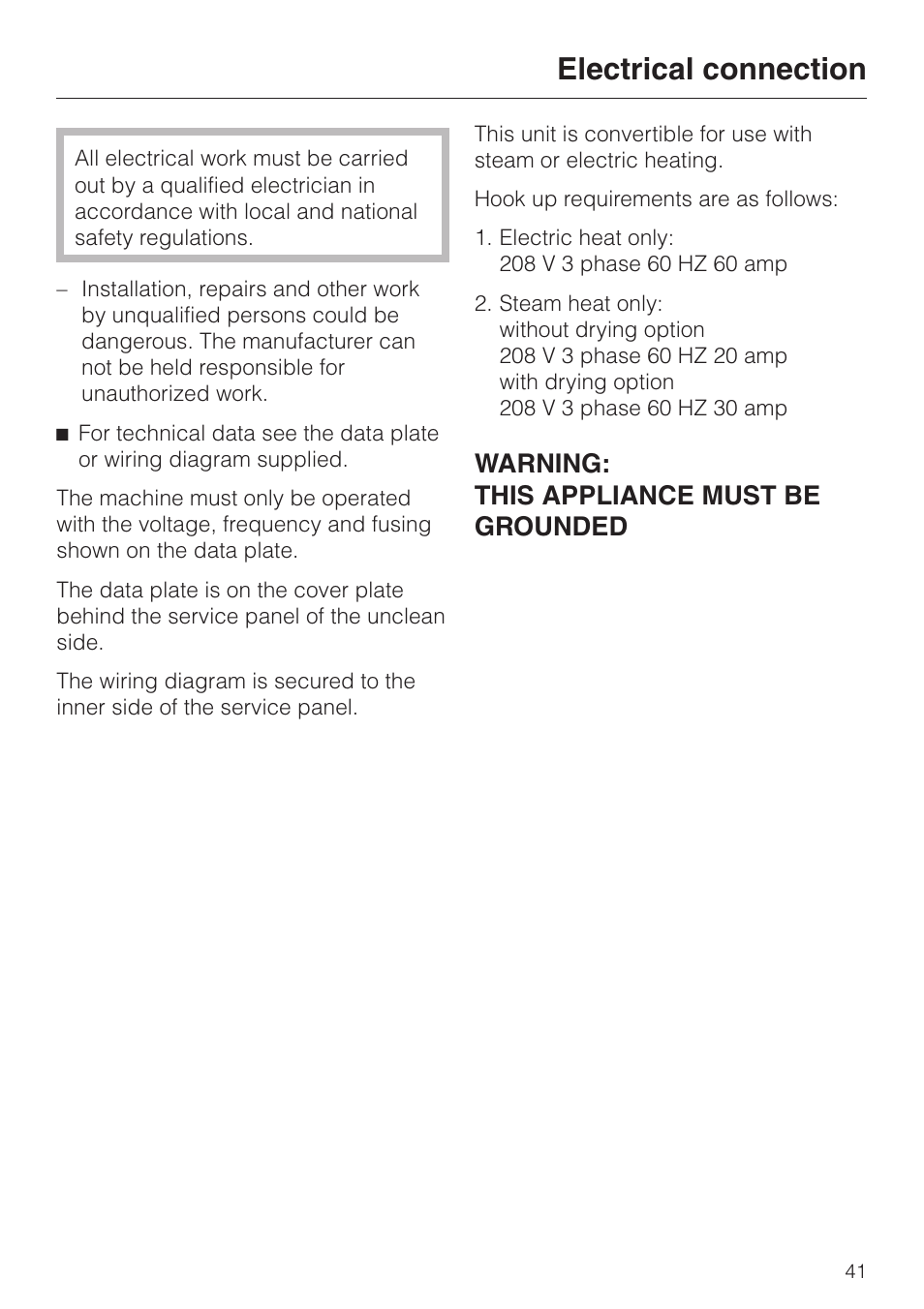 Electrical Connection 41 Warning This Miele Washing Machine Wiring Diagram Appliance Must Be Grounded G 7827 User Manual Page 48