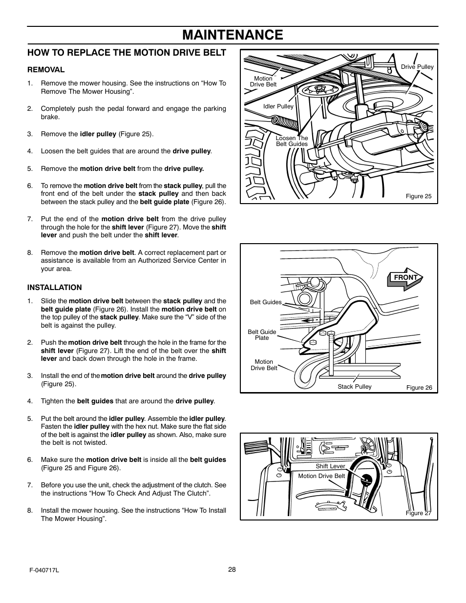 Maintenance, How to replace the motion drive belt | Murray 387002x92A User  Manual | Page