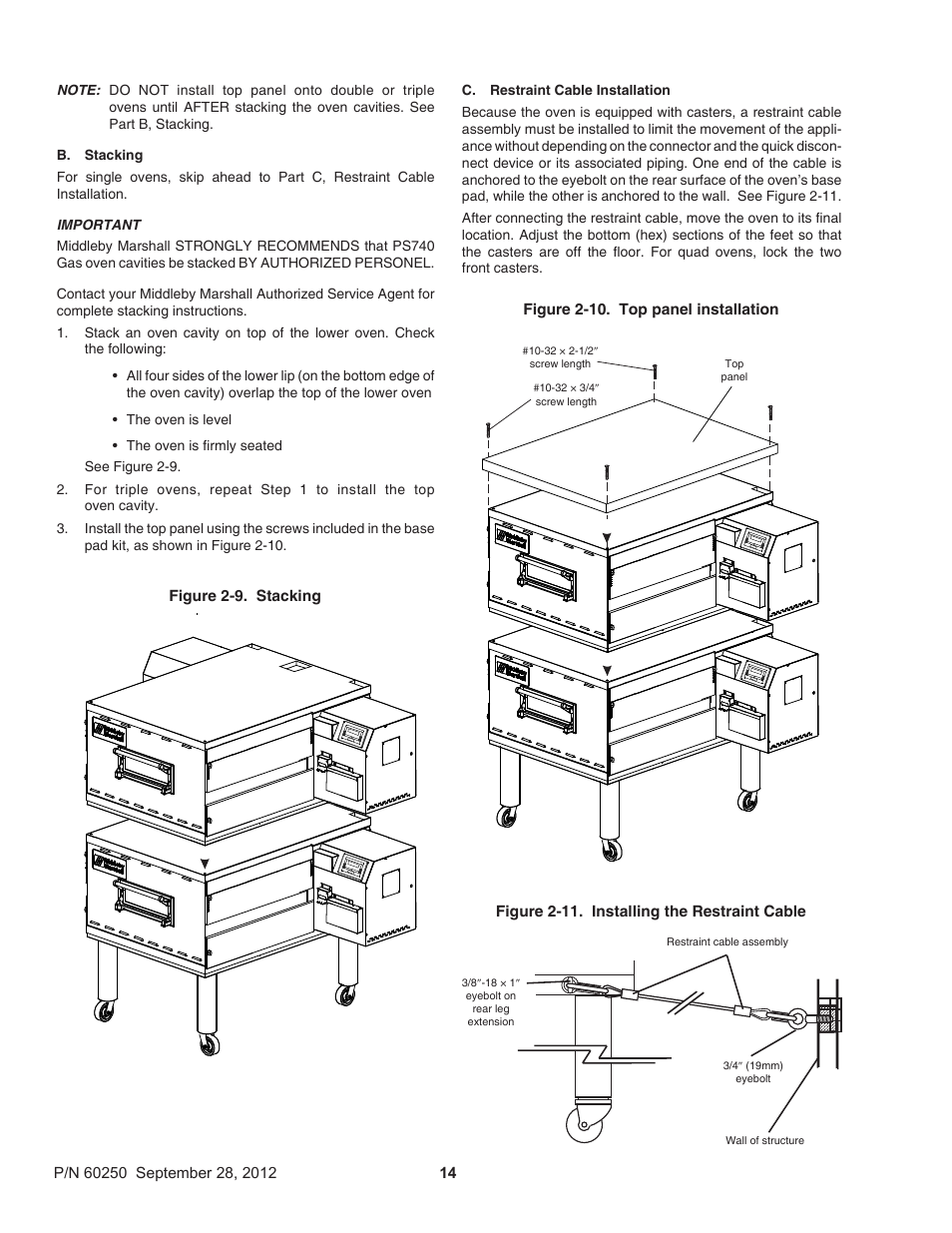 Middleby Marshall PS740 Series Gas Ovens P/N 60250 User Manual | Page 18 /