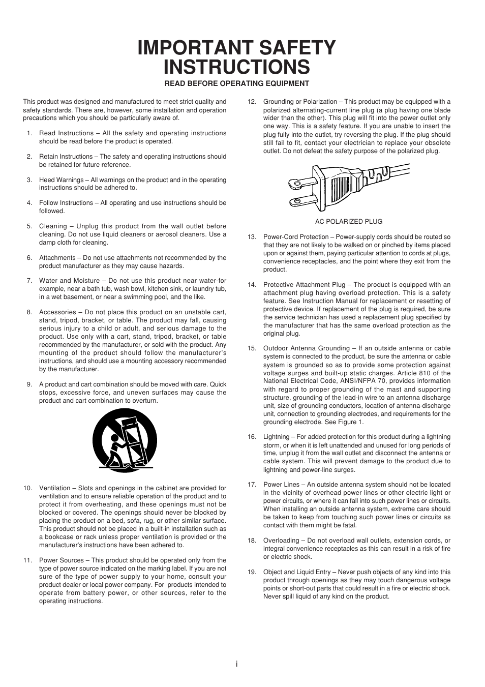 Important Safety Instructions Marantz Sr5300 User Manual Page 2