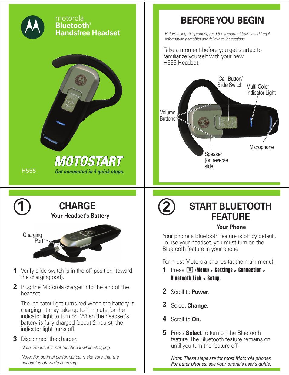 motorola h555 user manual 5 pages rh manualsdir com Motorola Bluetooth H700 User Manual Motorola Bluetooth Headsets User Manual