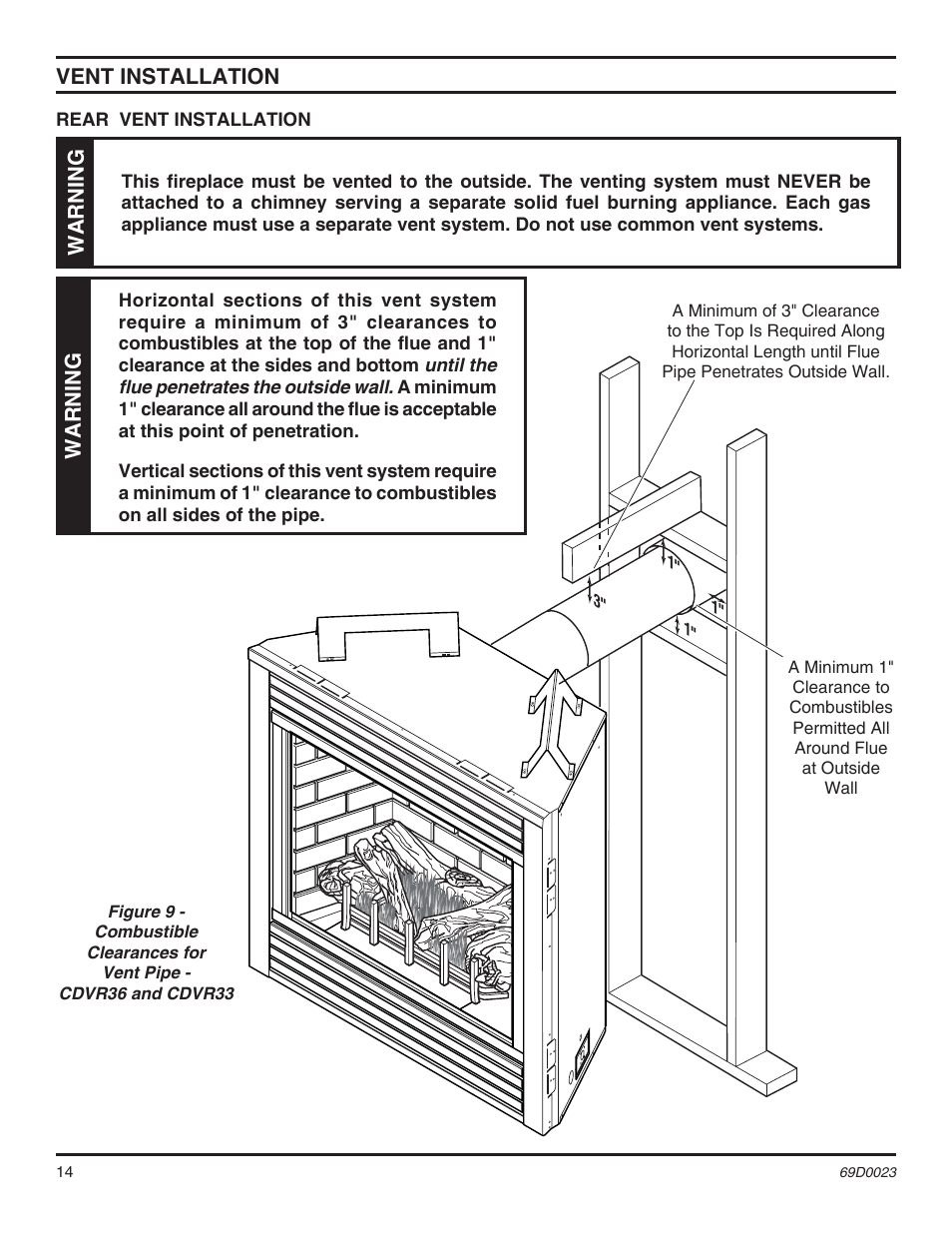 Vent installation Warning | Monessen Hearth Direct Vent Gas Fireplace CDVR36 User Manual | Page 14 / 52  sc 1 st  manualsdir.com & Vent installation Warning | Monessen Hearth Direct Vent Gas ...