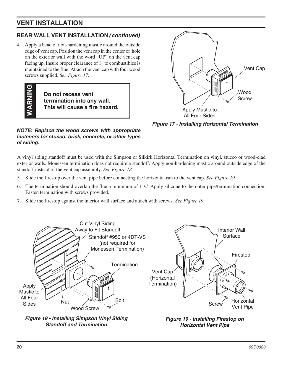 Vent Installation Warning Monessen Hearth Direct Vent Gas Fireplace Cdvr36 User Manual Page
