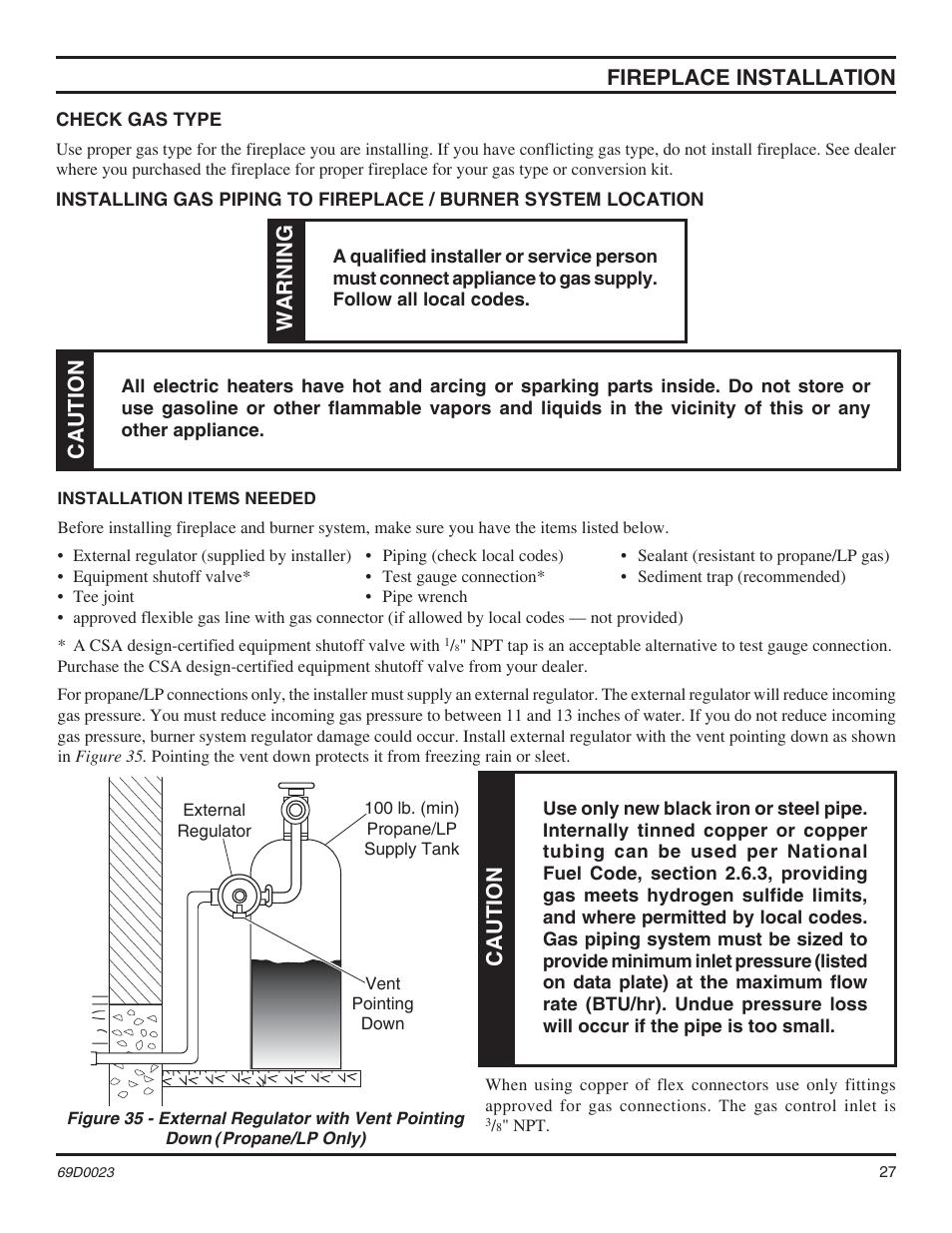 Fireplace Installation  Warning  Caution