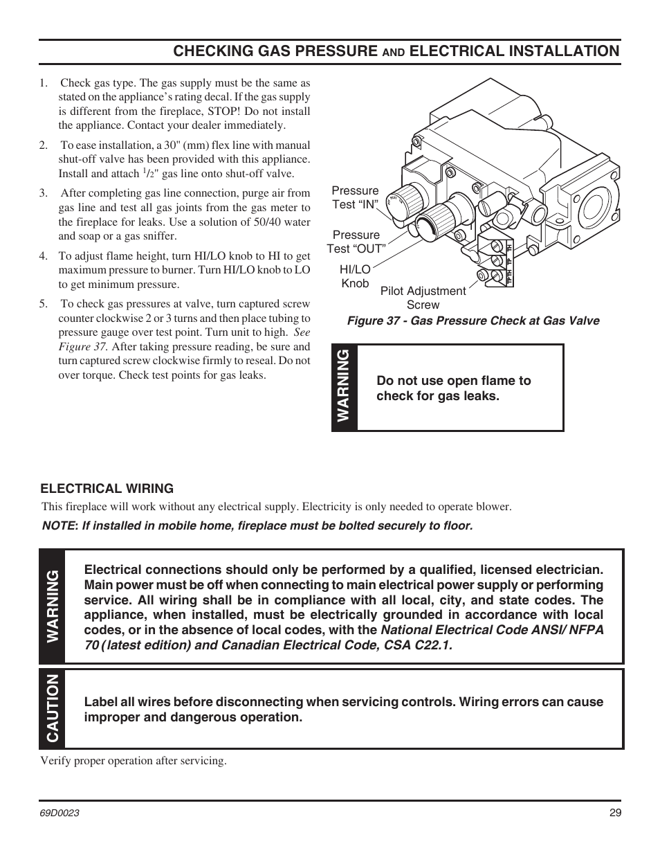 checking gas pres sure, electrical installation, warning | monessen hearth  direct vent gas fireplace cdvr36 user manual | page 29 / 52