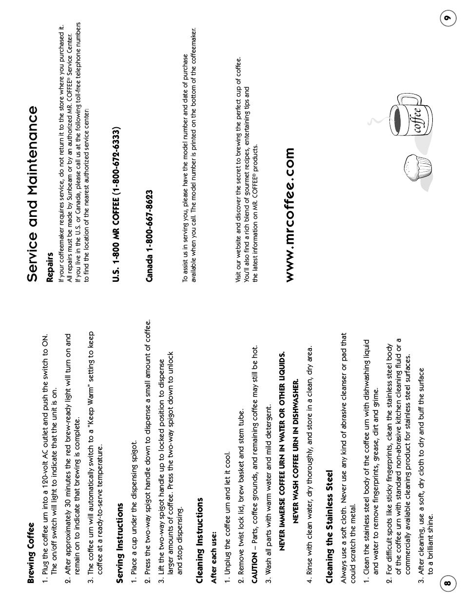 Service And Maintenance Cof Fee Mr Coffee Cbtu45 User Manual