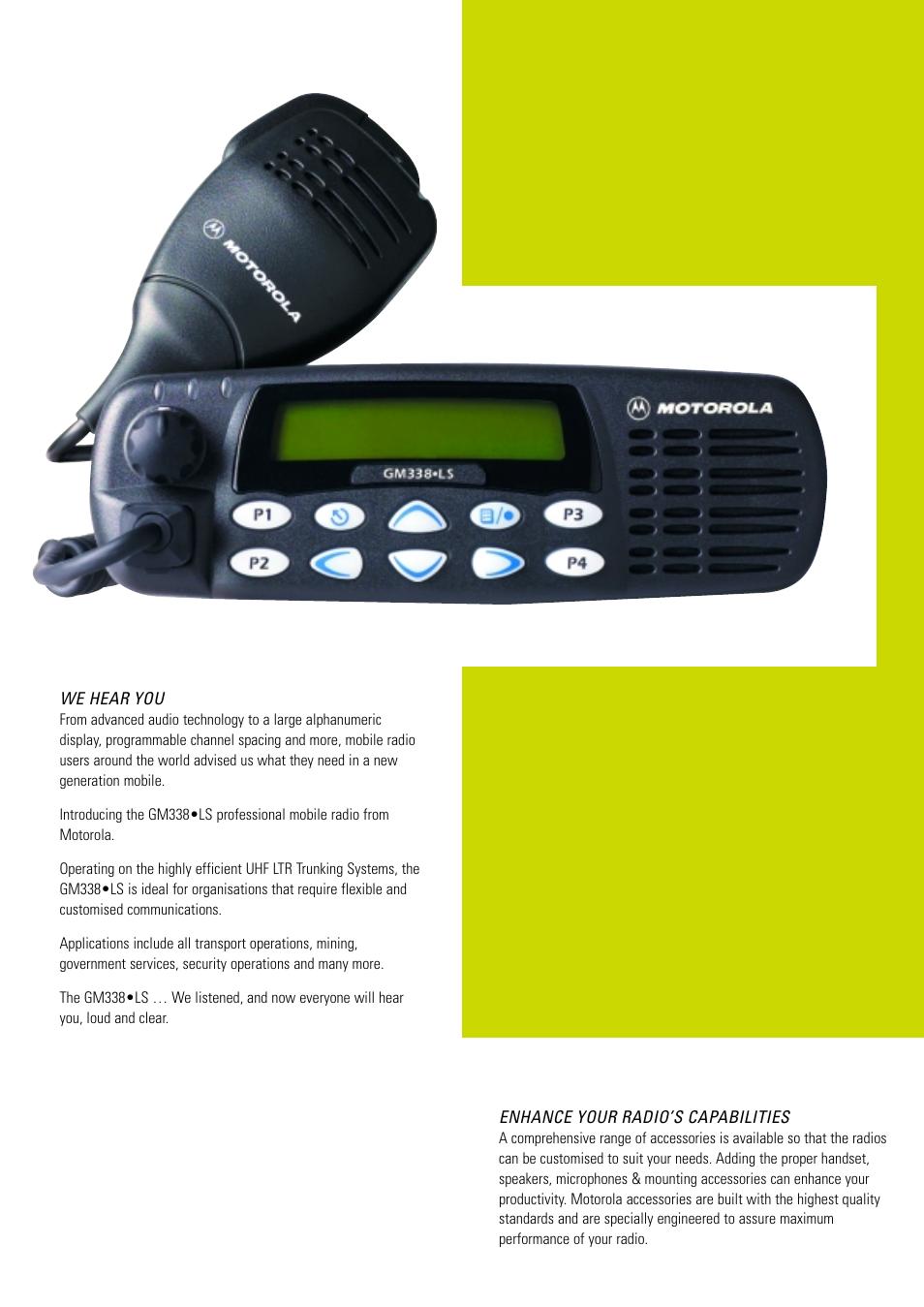 Motorola PROFESSIONAL MOBILE RADIO GM338LS User Manual