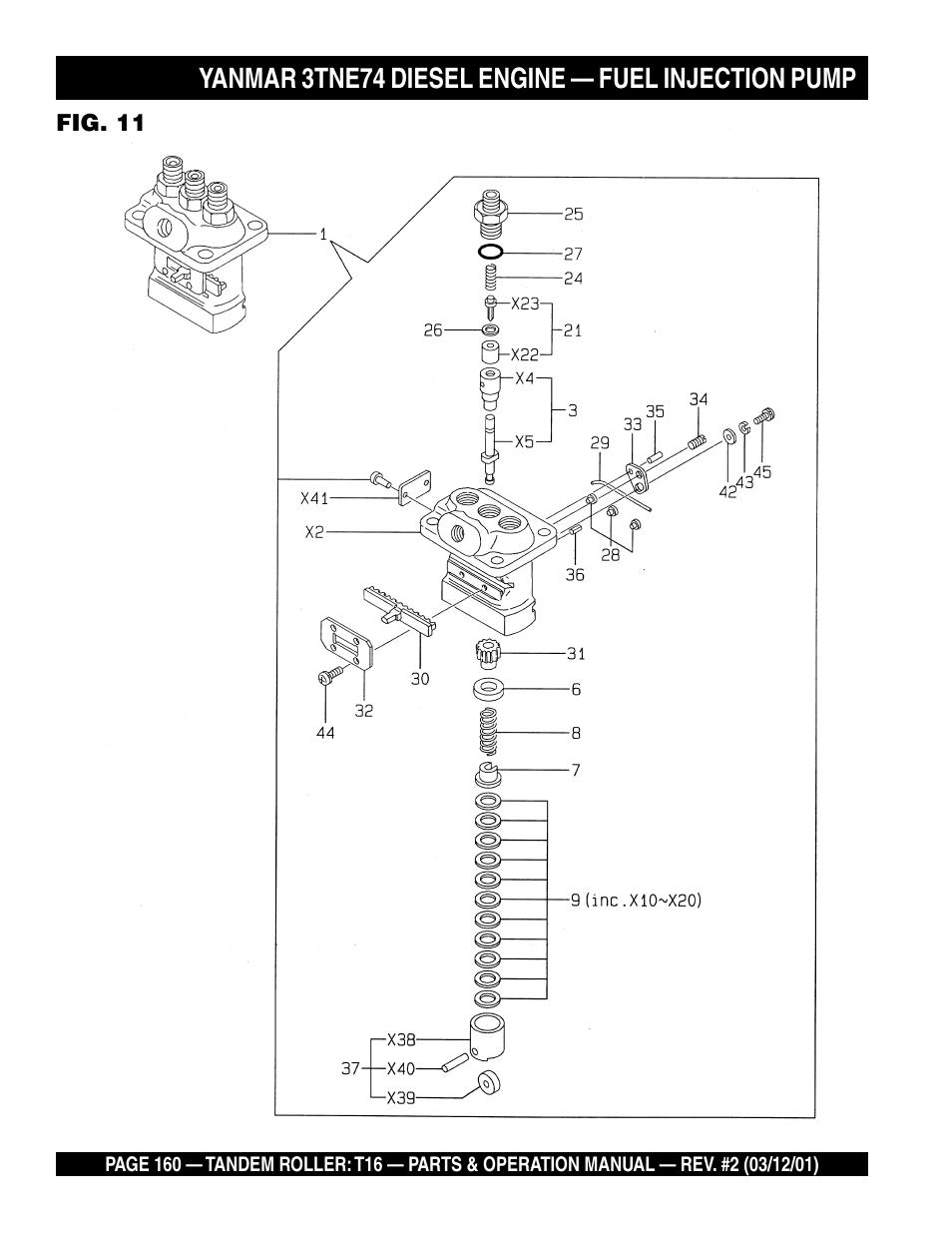 Yanmar 3tne74 Diesel Engine  U2014 Fuel Injection Pump