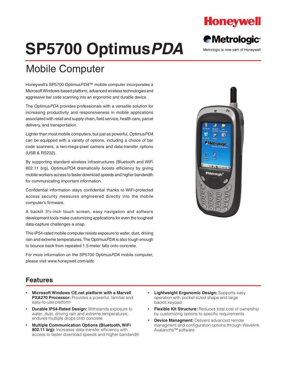 Metrologic Instruments SP5700 User Manual | 2 pages