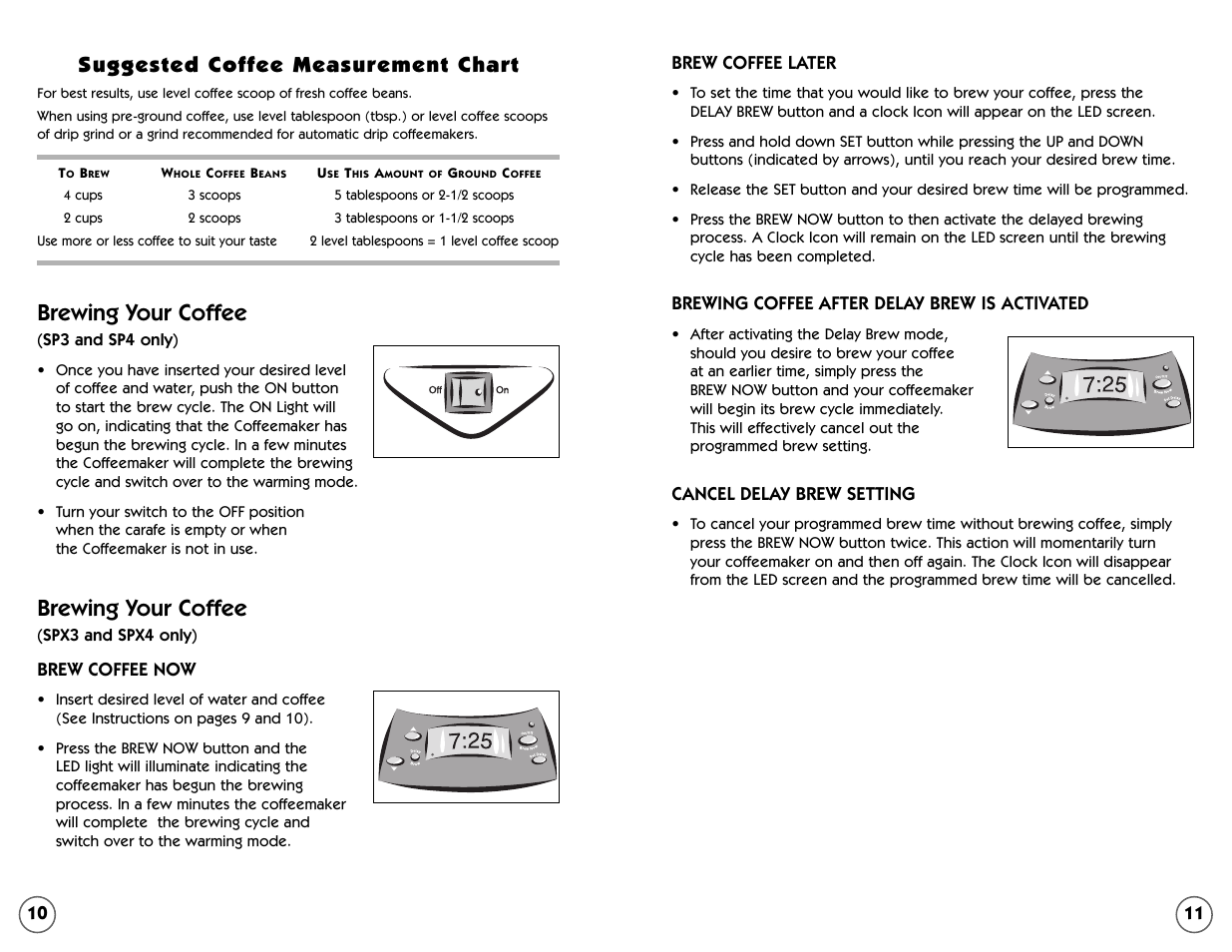 Brewing Your Coffee Suggested Measurement Chart Mr 109041 User Manual Page 6 16