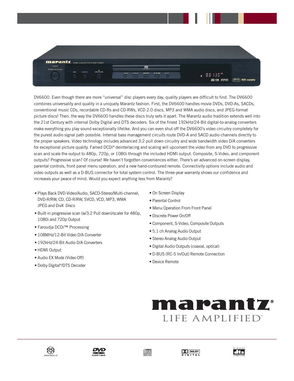 marantz dv6600 user manual 2 pages rh manualsdir com Clip Art User Guide User Guide Icon