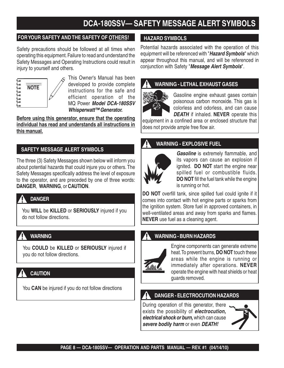 Dca 180ssv Safety Message Alert Symbols Multiquip Mq Power
