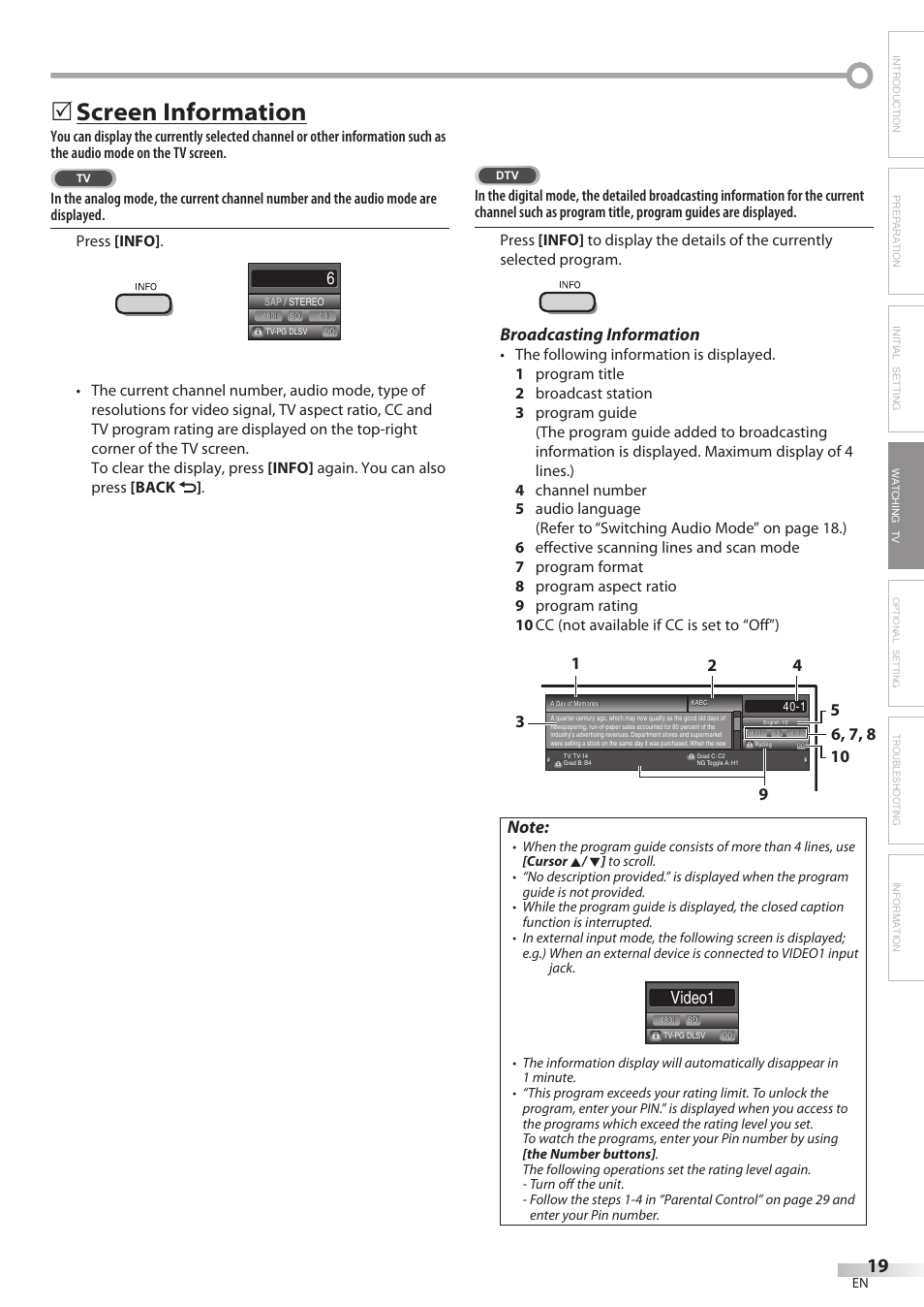Screen information, Broadcasting information, Video1 | Philips
