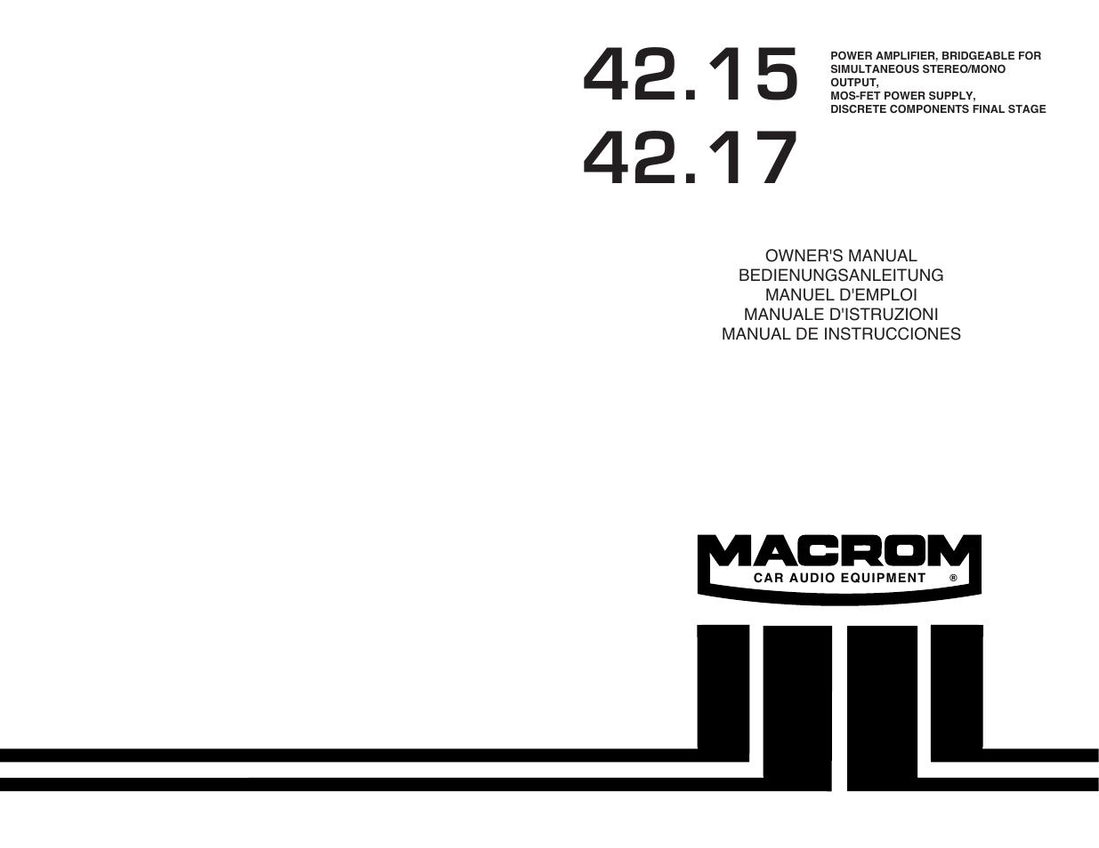 macrom 42 15 user manual