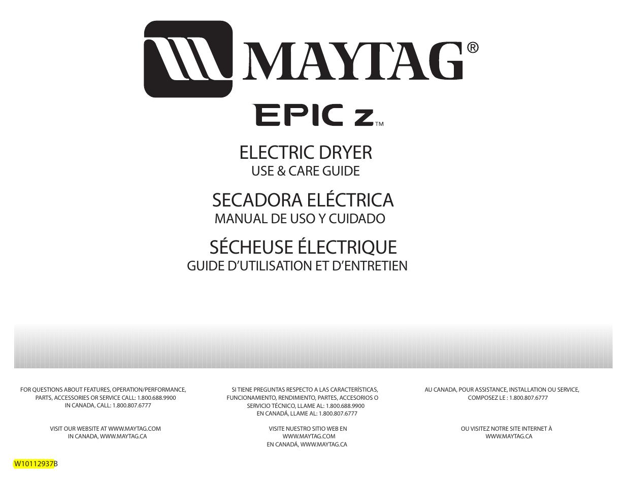maytag epic z w10112937b user manual 92 pages rh manualsdir com Maytag Dryer Owner's Manual Maytag Appliances