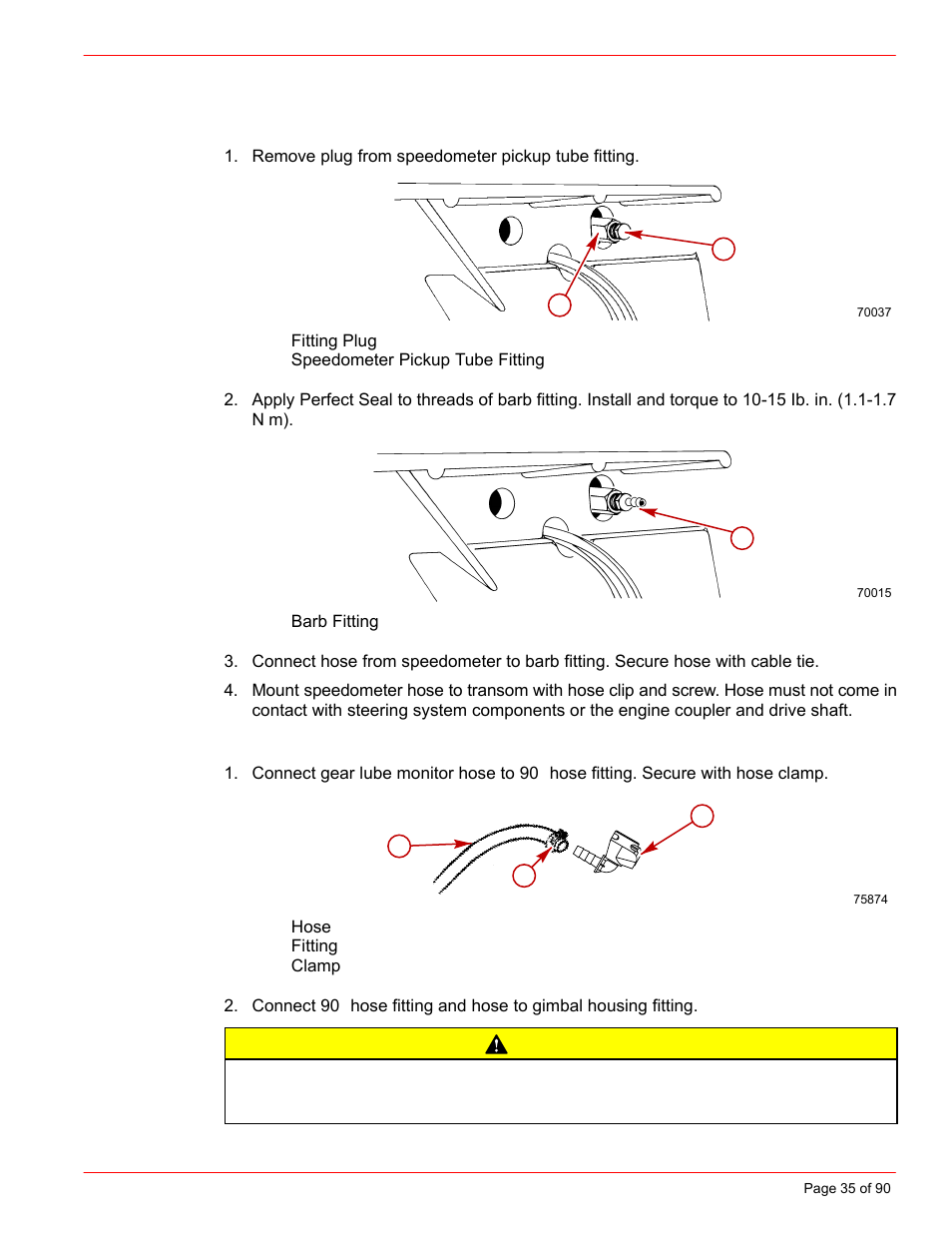 Speedometer pickup, Drive unit gear lube monitor hose, Caution | Mercury  INSTALLATION MANUAL D7.3L D-TRONIC User Manual | Page 35 / 90