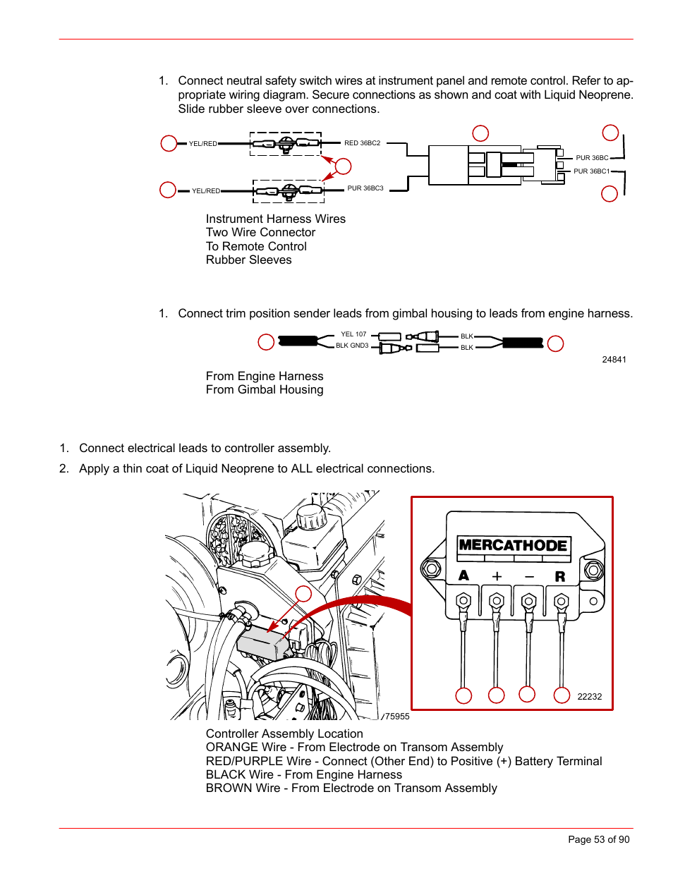 Mercruiser Trim Sensor Wiring Diagram Mercury Installation Manual D73l D Tronic User Page 53 90