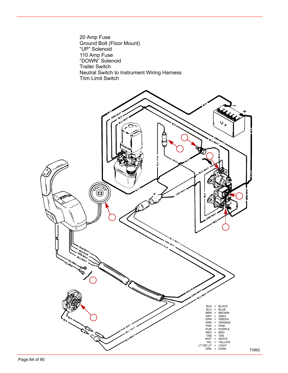 Power Trim System Wiring Diagram Mercury Installation Manual D73l Limit Switch Schematic D Tronic User Page 84 90