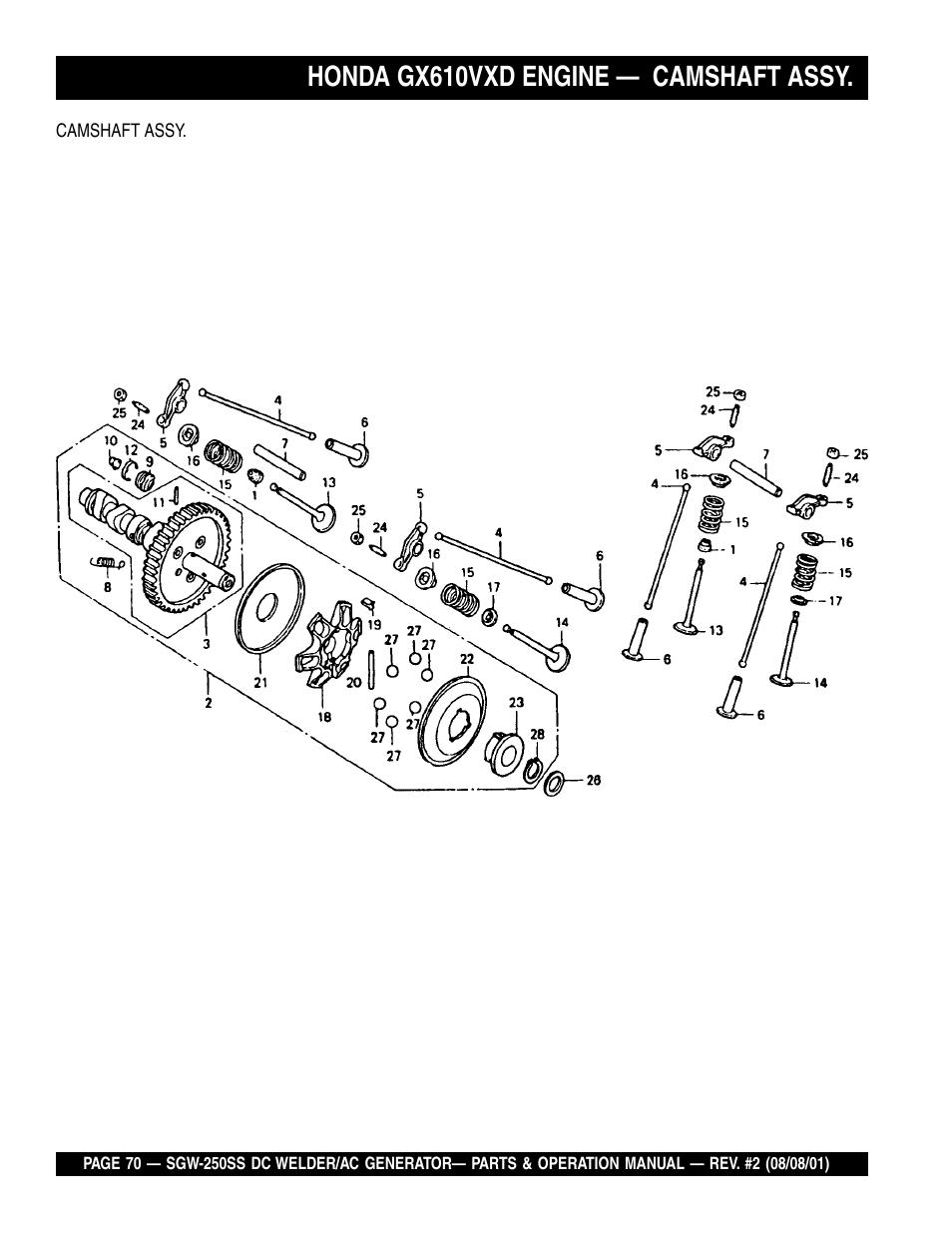 Honda gx610vxd engine — camshaft assy | Multiquip MQ Power Whisperweld DC  Welder/AC Generator SGW-250SS User Manual | Page 70 / 92