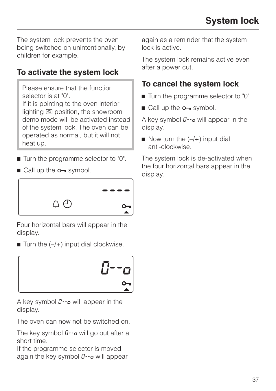 System Lock 37 System Lock Miele H334b User Manual Page 37 76