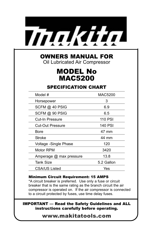 Makita MAC5200 User Manual | 20 pages on