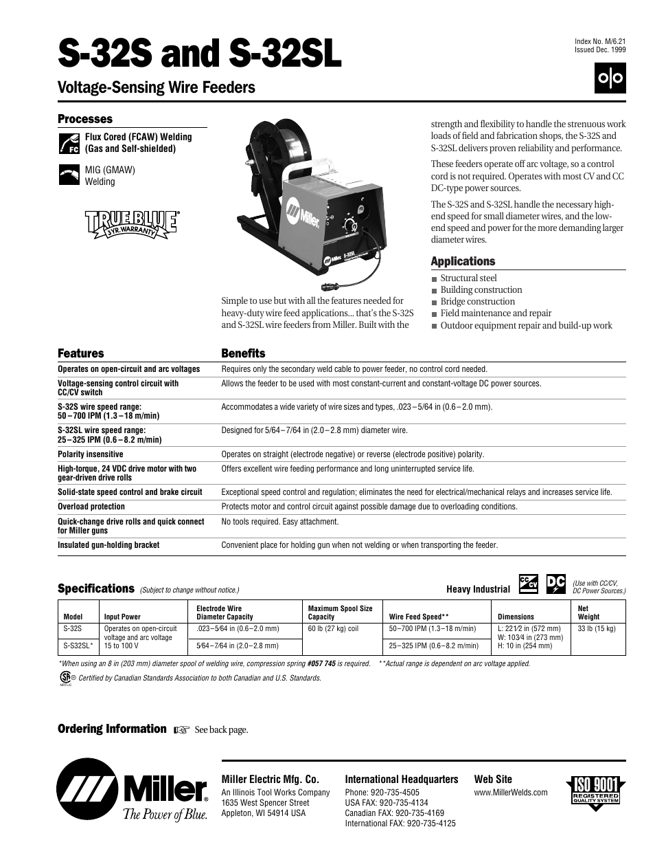 Miller Electric S-32S User Manual | 4 pages