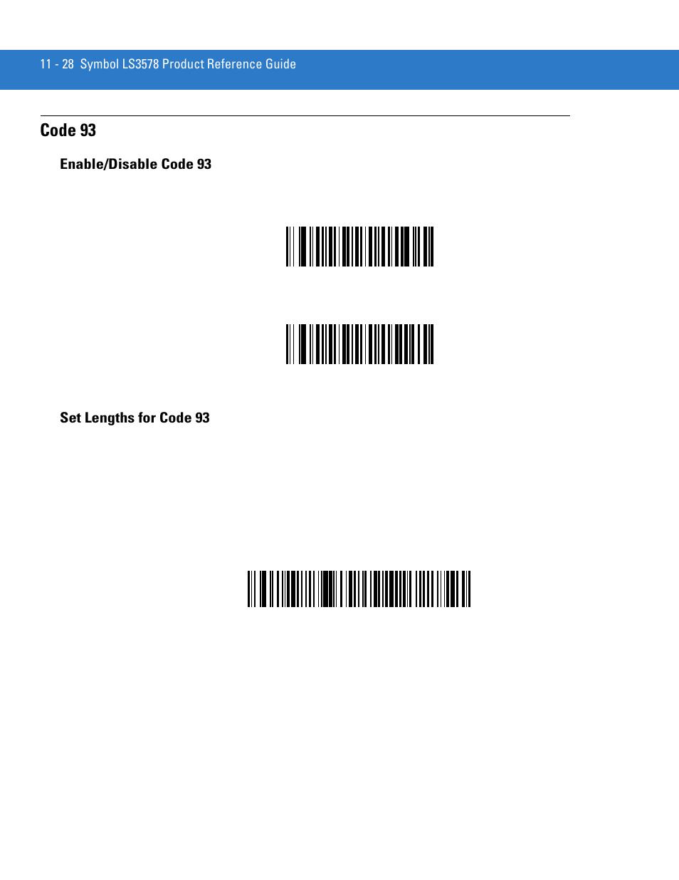 Code 93 Enabledisable Code 93 Set Lengths For Code 93 Motorola