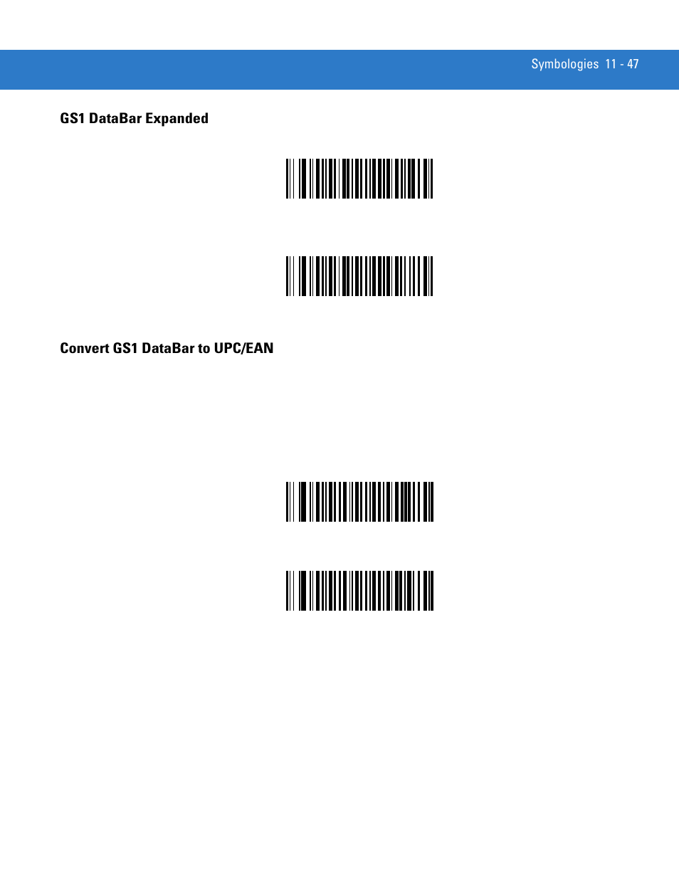 Gs1 databar expanded, Convert gs1 databar to upc/ean | Motorola LS3578 User  Manual | Page 217 / 378