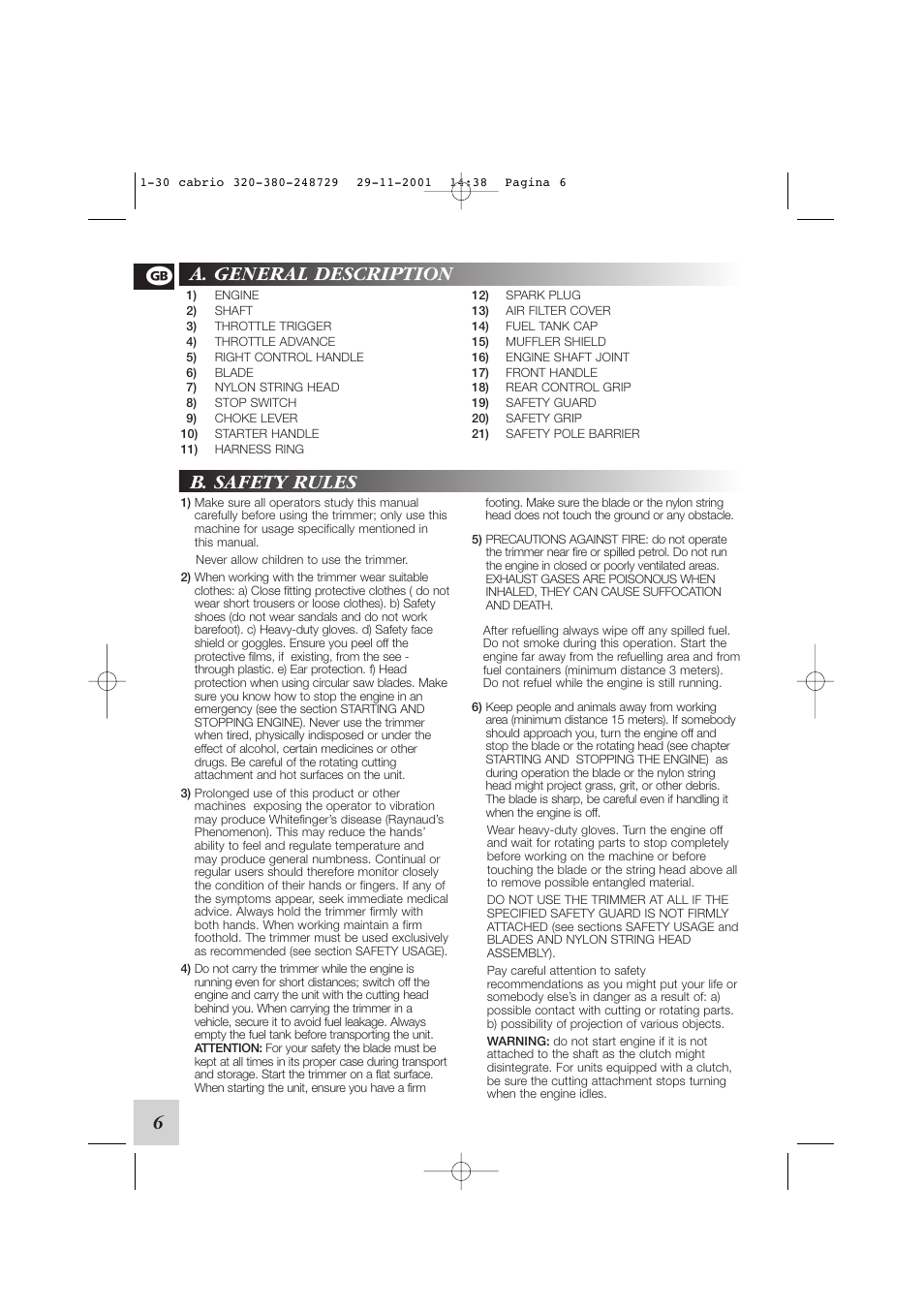 A. general description b. safety rules   McCulloch Euromac D321/34cc User  Manual   Page 12 / 96