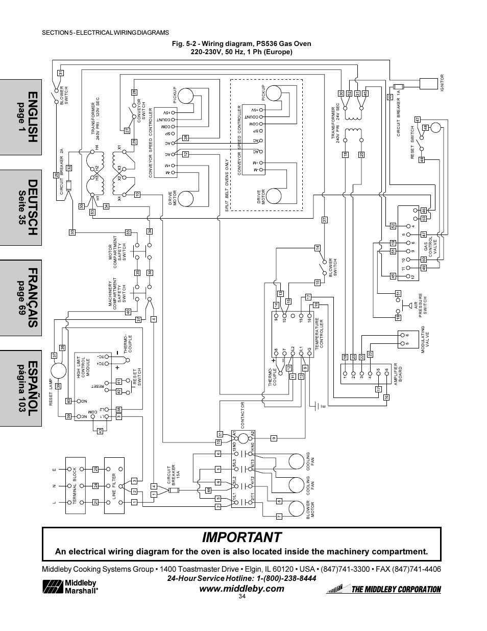 important, english, deutsch middleby marshall model ps536 user Wire Diagram 240V Hot Tub
