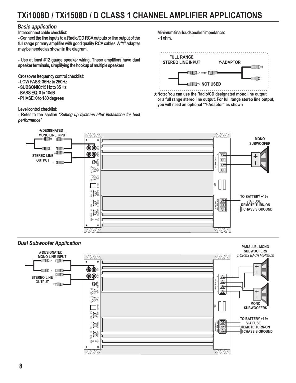 Basic application, Dual subwoofer application, Remote turn-on | Maxxsonics  Hifonics TXi4408 User Manual | Page 10 / 15