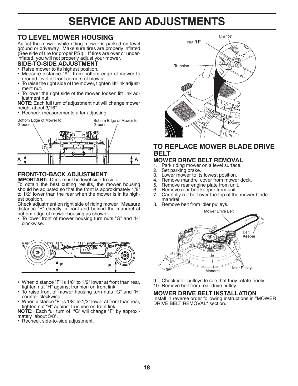 Service and adjustments | McCulloch MOWCART 66 User Manual | Page 18 / 24