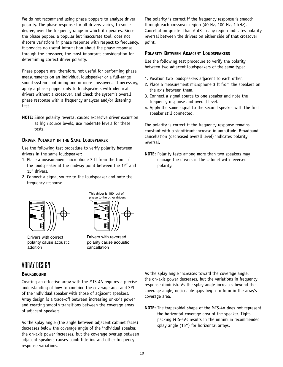 Array design | Meyer Sound MTS-4A User Manual | Page 10 / 14