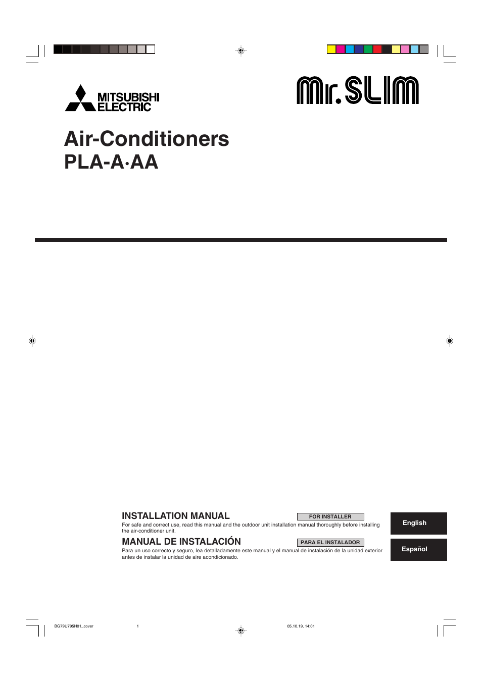 MITSUBISHI ELECTRIC Mr. Slim PLA A AA User Manual | 18 Pages