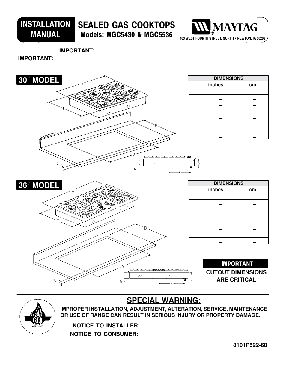 Maytag Mgc5536 User Manual 36 Pages Also For Mgc5430bdb