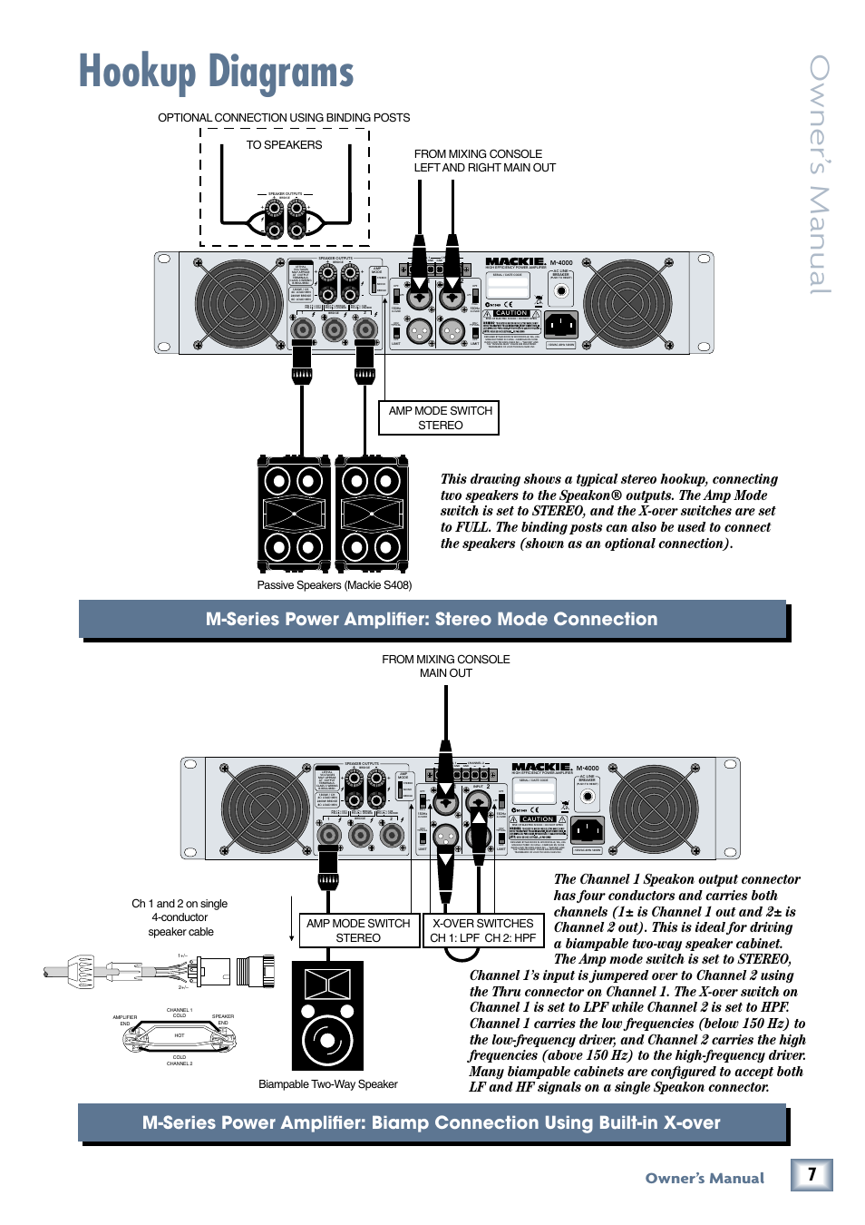 Hookup diagrams, Owner\' s manual, M-series power amplifier: stereo ...