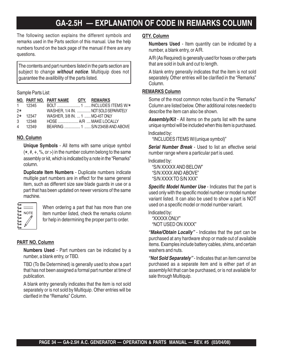 Ga 25h Explanation Of Code In Remarks Column Multiquip Portable