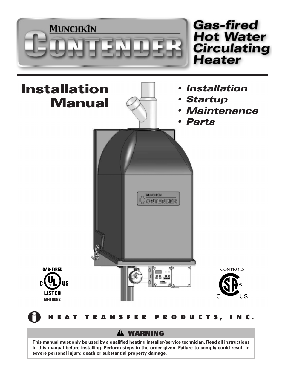 Munchkin Gas-Fired Hot Water Circulating Heater User Manual | 72 pages