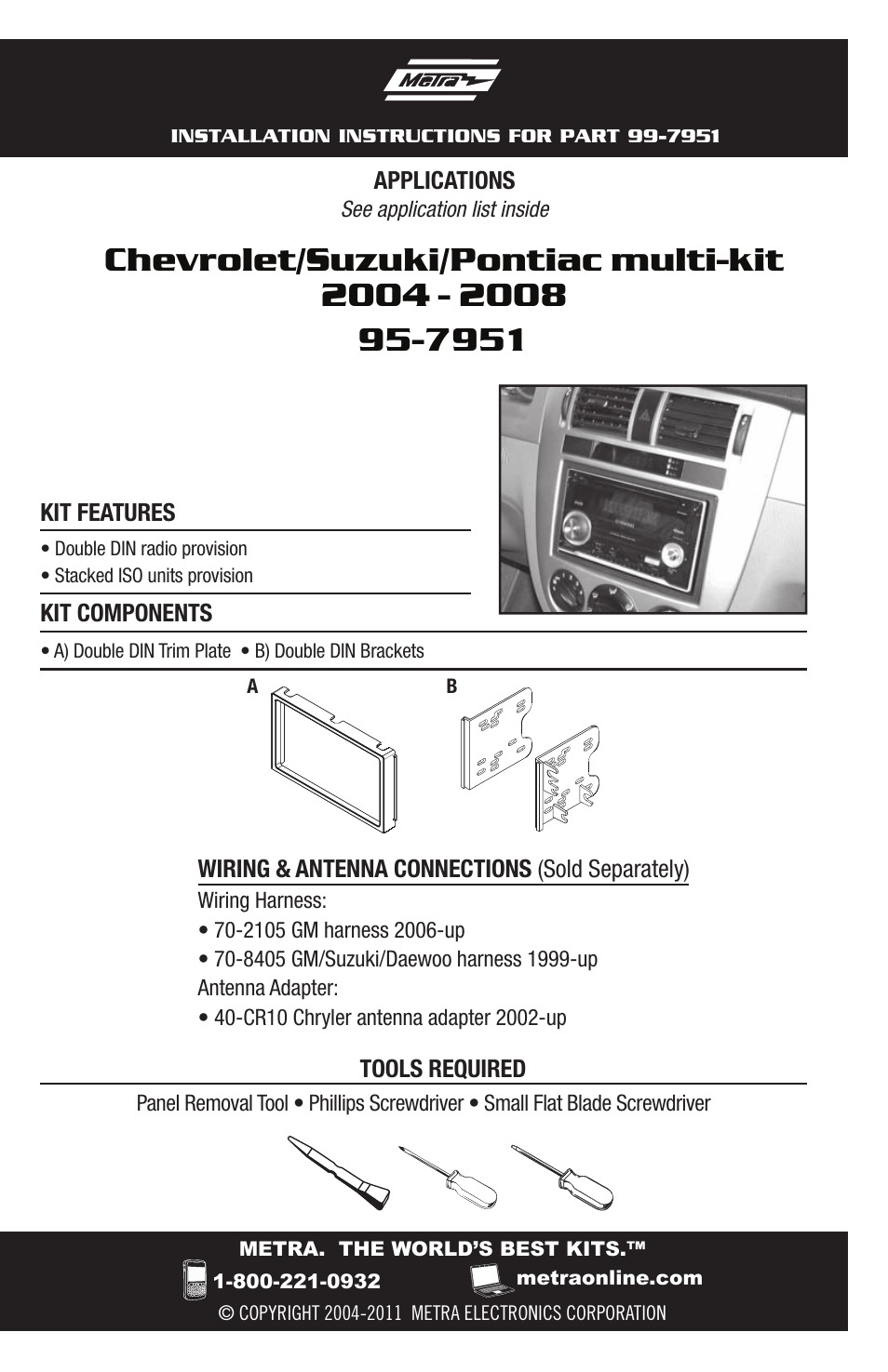 Metra Electronics Multi Kit 95 7951 For Chevrolet User Manual 12 Wiring Harness Pages Also Suzuki Pontiac