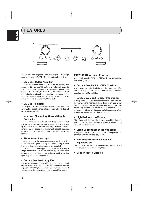 Marantz Equalizer Manual Wiring Diagram Besides Polaris 2014 Rzr 900 On Winch Array Features Pm7001 Ki Version Cd Direct Buffer Amplifier Rh Manualsdir Com