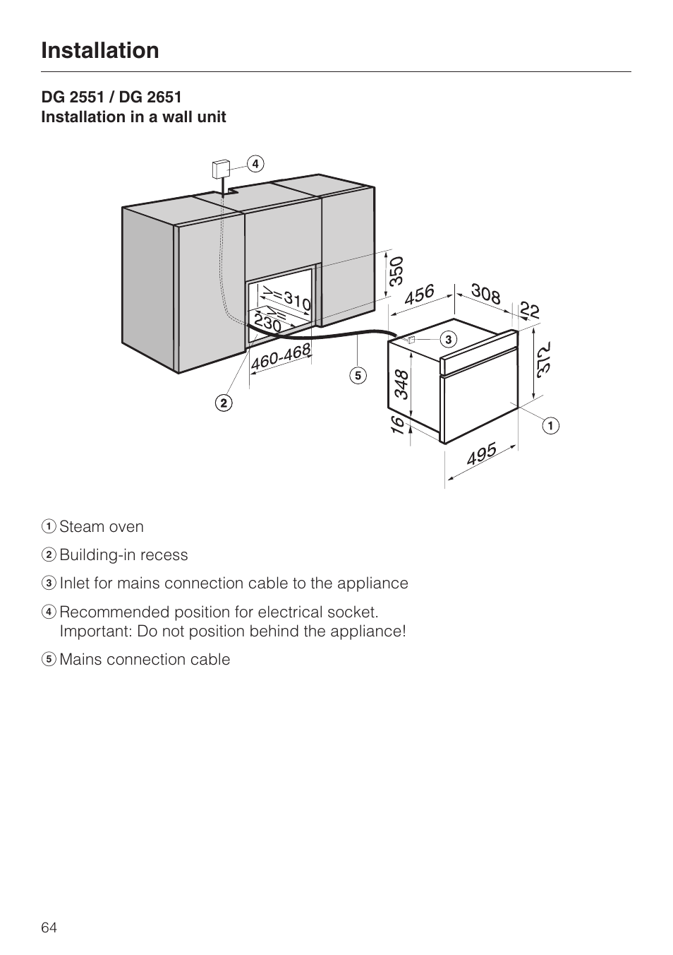 Installation Miele Dg 2351 User Manual Page 64 72