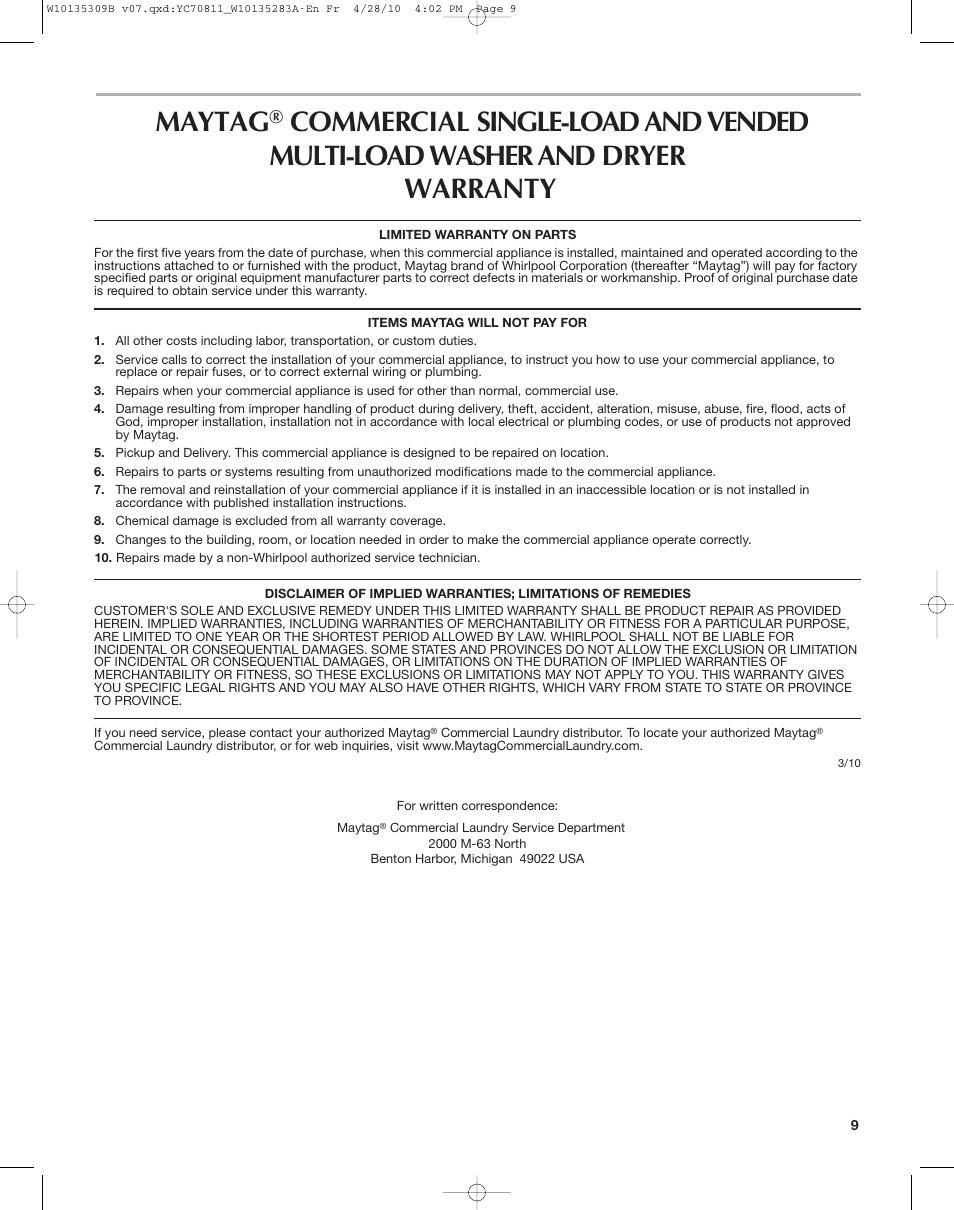 Maytag   Maytag MAT14CS User Manual   Page 9 / 32