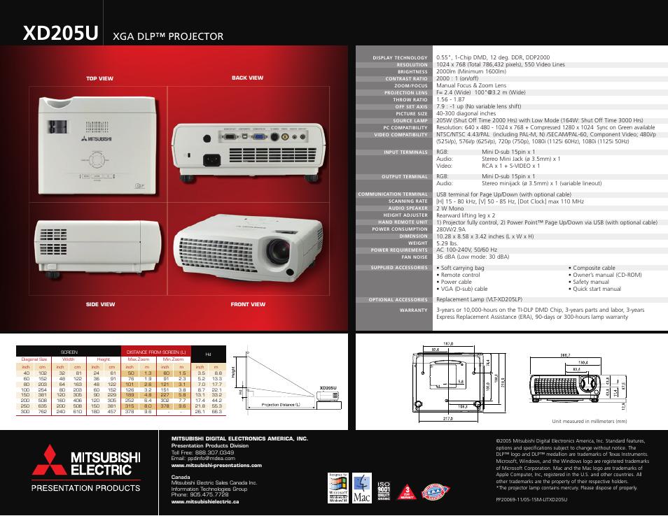 xd205u xga dlp projector mitsubishi electric xd205u user manual