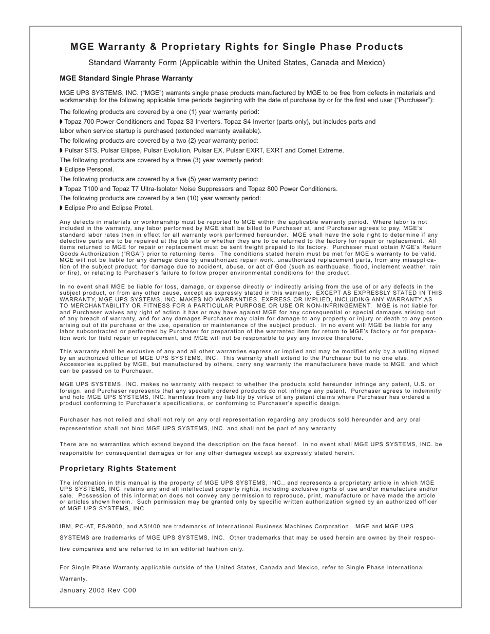MGE UPS Systems EX-7 User Manual | Page 67 / 76 | Also for: EX ...