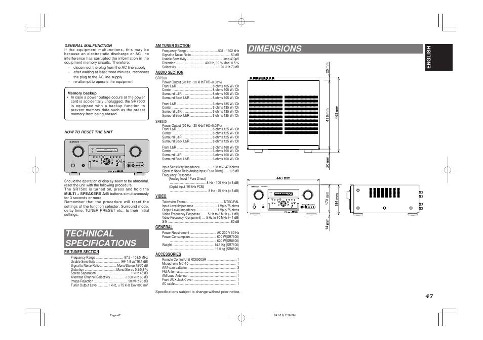 technical specifications dimensions marantz sr7500 user manual rh manualsdir com marantz sr7500 service manual pdf Ampli Marantz