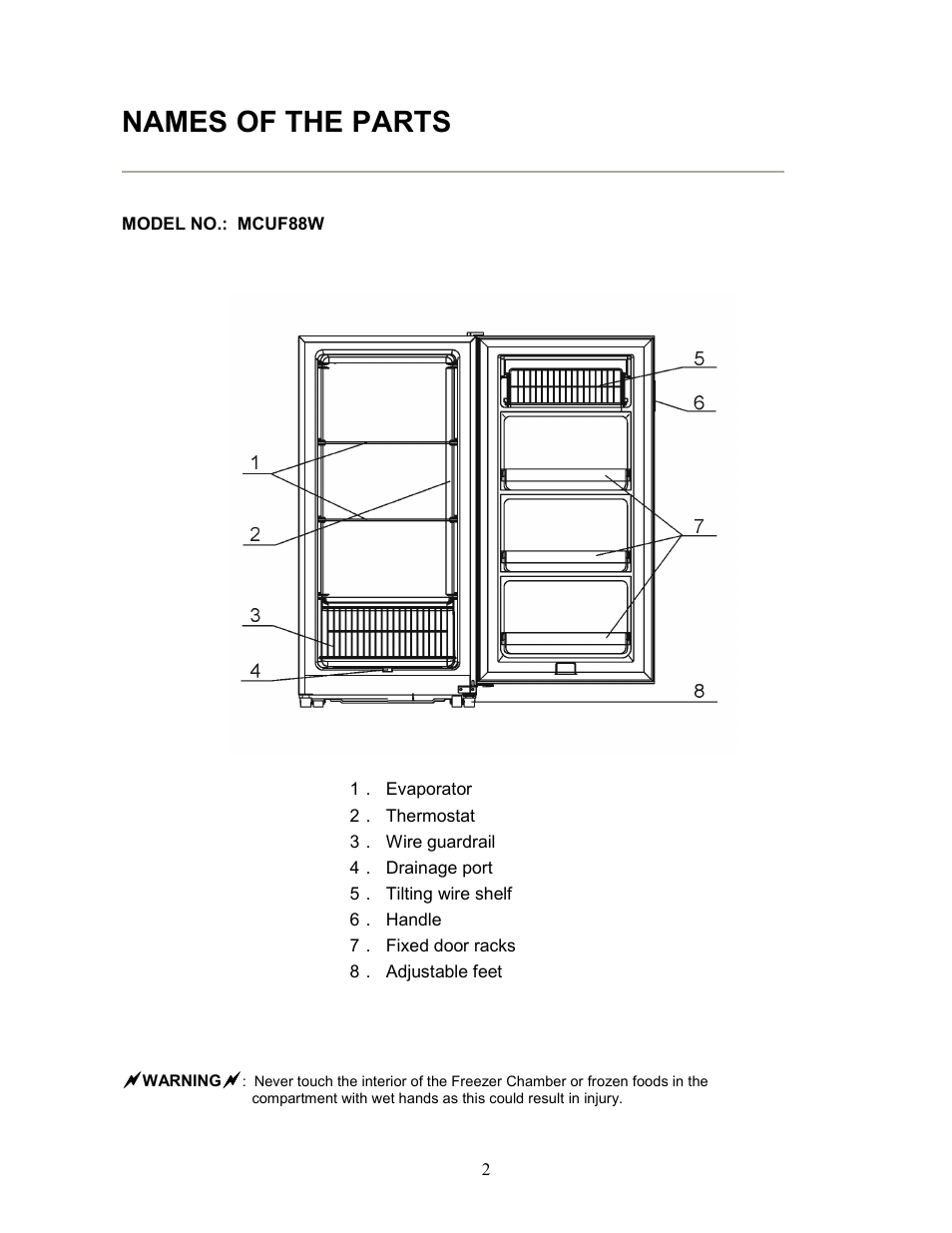 Names of the parts | Magic Chef MCUF88W User Manual | Page 3 ... on