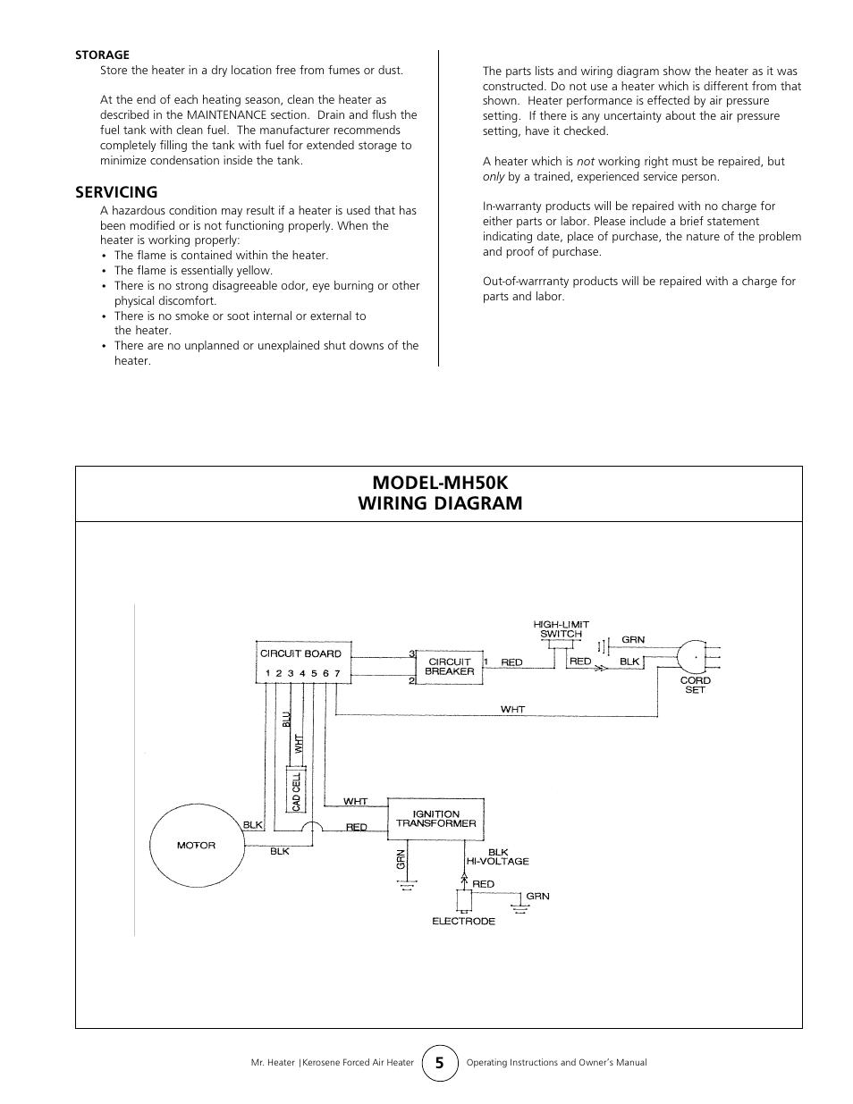 Model-mh50k wiring diagram | Mr. Heater MH50K User Manual | Page 5 / 8 |  Original modeManuals Directory