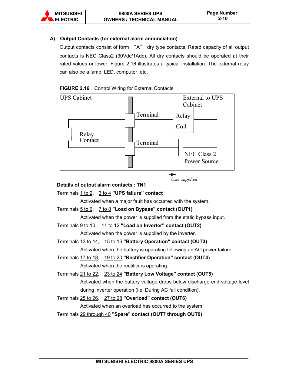 Terminal Ups Cabinet External To Mitsubishi Electric 9800a Alarm Contacts Wiring In Series Systems User Manual Page 31 70