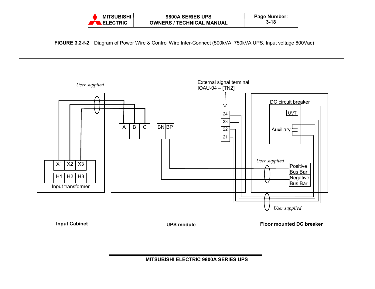 Mitsubishi Electric 9800a Series Ups Systems User Manual Page 51 70 Electrical Circuit Diagram