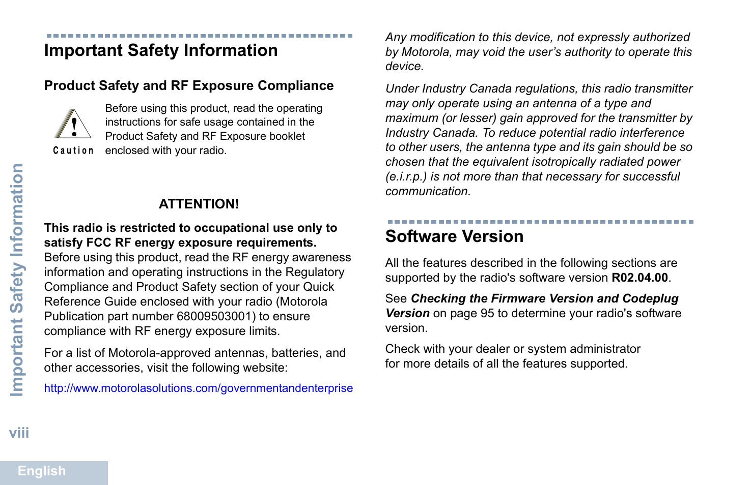 Important safety information, Product safety and rf exposure